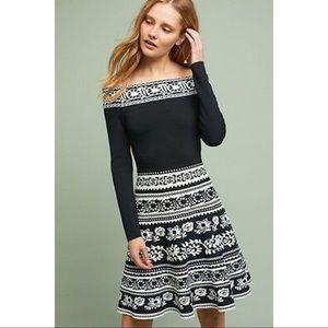 Eliza J Pattern Off the Shoulder A-Line Knit Dress